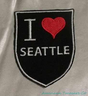 Embroidered Retro Vintage Style I Love Seattle Washington WA State Patch Iron On