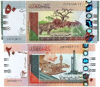SUDAN 50 & 20 Pounds 2017 P NEW x 2 UNC Banknote Set