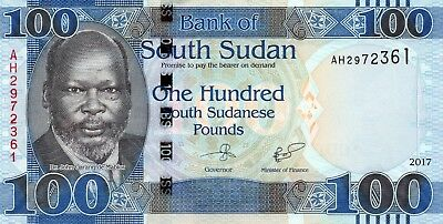SOUTH SUDAN 100 Pounds 2017 P15c UNC Banknote