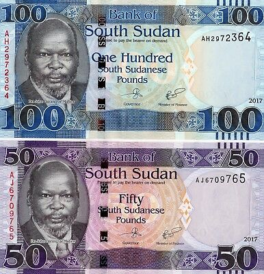 SOUTH SUDAN 100 & 50 Pounds 2017 P NEW Set 2 x UNC Banknotes