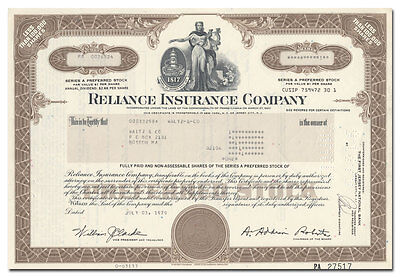 Reliance Insurance Company Stock Certificate