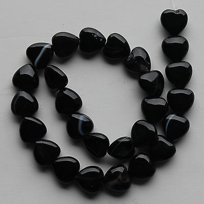 "15x15mm Black Onyx Heart Loose Beads 15.5"" Strand"