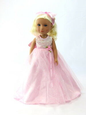 "Pink Sparke Gown Dress Headband Fits Wellie Wishers 14.5"" American Girl Clothes"