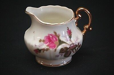 Old Vintage Miniature Creamer w Rose Pattern & Gold Trim Made In Japan
