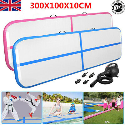 Inflatable Tumbling Mat 3Mx1M Air Track Gymnastics Mats Yoga Mat W/ Air Pump UK