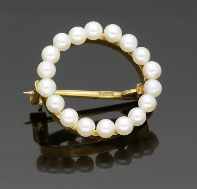 Vintage 9Ct Yellow Gold Small Circle Cultured Pearl Brooch - 1969