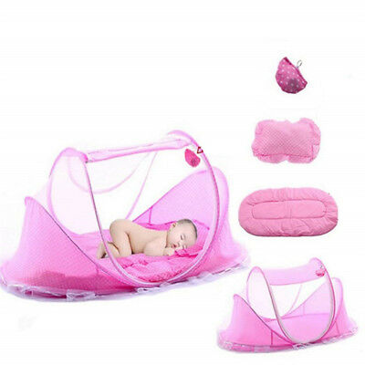 Pink Foldable Infant Baby Mosquito Net Travel Cot Tent Cradle Bed Pillow -KM02