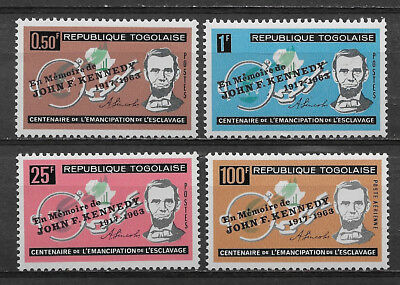 Togo , Kennedy, Set Of 4 Stamps Overprinted , Perf , Mnh