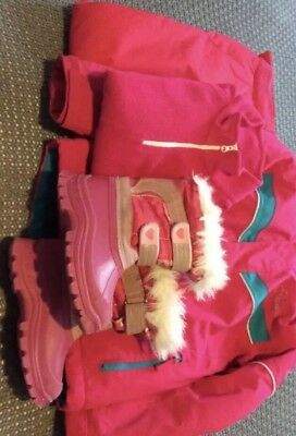 Girls Ski Bundle, age 5-6,  jacket, trousers / salopettes, fleece, snow boots 11
