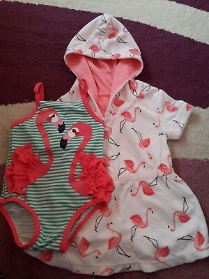 Flamingo Swimming Costume And Towelling Dress Age 3-6 Months