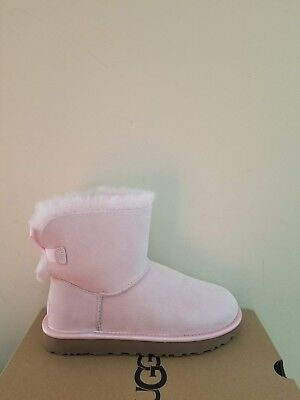1a7f8b4f9d3 UGG MINI BAILEY Bow II Glam Pink Dusk Suede Fur Boots Womens Size 10 ...