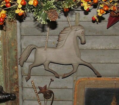 Primitive Antique Vtg Style Farm Farmhouse Horse Embossed Hanging Metal Tin Sign