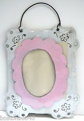 Tin Photo Frame from Old Barn Roof ~ Barnstorm ~ (Recycled Material) ~White/Pink