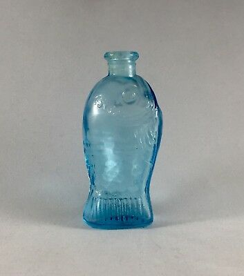 "Fischs Fish Bitters Bottle Aqua Blue Glass Embossed Wheaton Mini 3"" Taiwan Made"