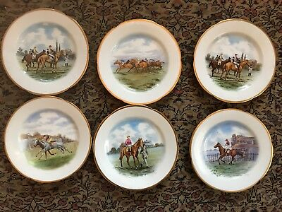 Set of 6 antique hand-painted  Staffordshire horse racing Equestrian plates