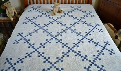 Antique Hand Stitched Nine Patch Quilt