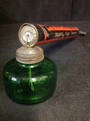 Vintage Black Flag All Purpose Bug Pump Sprayer  Green Glass Rocky Boyle-Midway
