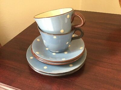Babbacombe Pottery 6 Piece Tea Cups, Saucers and Tea Plates, Spotty Design