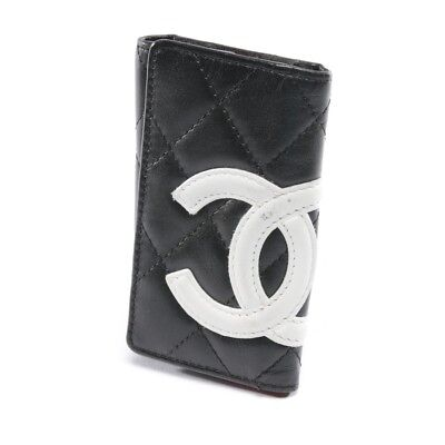 Chanel Astuccio Portachiavi Nero Bianco Donna Accessori Key Holder Pelle d40501d601e