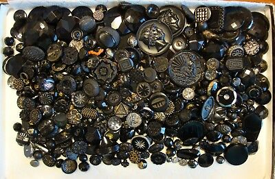 """Lot of 375 Antique Vintage  Black Glass Buttons 5/16"""" to 1 5/8"""""""