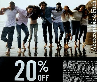 20% Abercrombie coupon code your purchase of 50 or more EXP 1/5/19