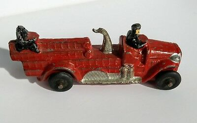 Antique Vintage toy FIRE TRUCK solid cast iron Rubber Tires 1920s Arcade Hubley
