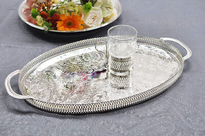 Vintage Silver Plated Oval Gallery Tray Handles - Mother's Day Gift - SALE