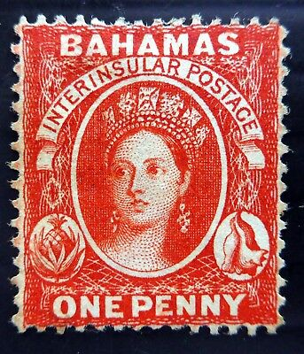 BAHAMAS 1877 - 1d SG33x Reversed WMK Mint No Gum Cat £85 NL278