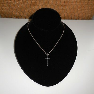 Vintage Solid 925 Sterling Silver 16 3/4 Inch Long Cross Necklace