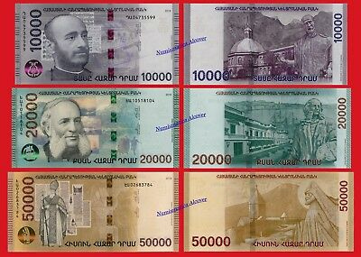 ARMENIA SET 10000 20000 & 50000 Dram 2018 Pick NEW  SC / UNC