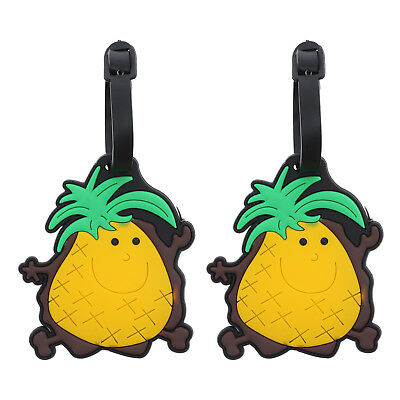 Luggage Tag Silicone Smiley Pineapple Duffel ID Holder Suitcase 2 Travel Tags
