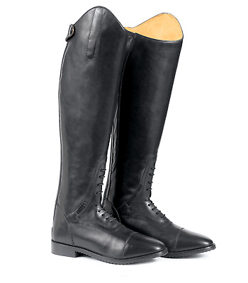 Long Black Leather Field Boots Horse Riding Footwear Stable Yard Uk 5N Euro 38