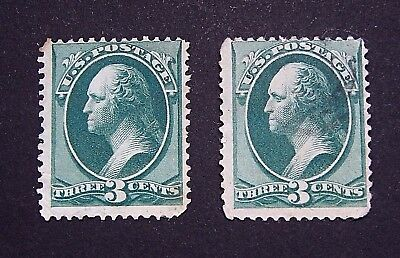 2 x High Grade George Washington 1887 Series Green 3 Cent Stamps - 600a