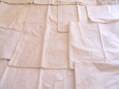 Lot of 16 Vintage Linen Euro Sham Pillow Case Handmade Embroidery