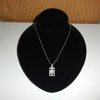 Vintage Solid 925 Sterling Silver Abstract Pendant & 18 Inch Chain Necklace