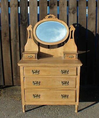 Victorian Satinwood Dressing Table / Oval Mirror and Drawers
