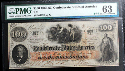 T41 $100 1862 Confederate States of America Note CIVIL WAR CSA PMG Ch.CU 63 PF-6