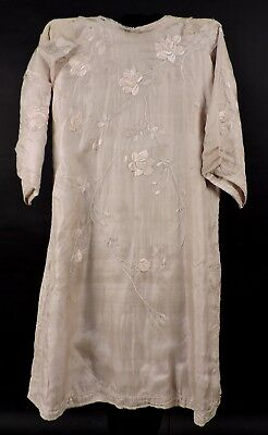 Antique 19Th C Hand Embroidered Silk Robe For Parts / Craft As Found