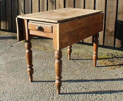 Victorian Pine Scrubbed Top Drop Leaf One Drawer Pembroke Kitchen Dining Table