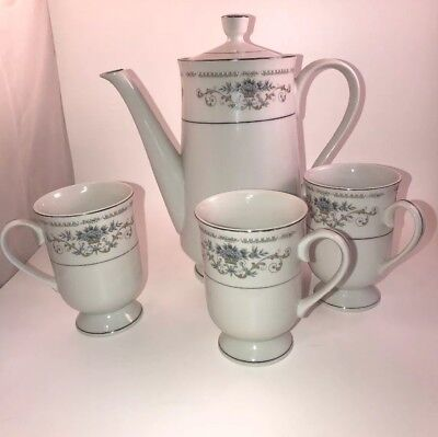 Fine China Of Japan DIANE Coffee Pot 971911 And 3 Matching Mugs