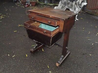 Antique Vintage Wooden Writing sewing Desk / Table with Drawer for Restoration