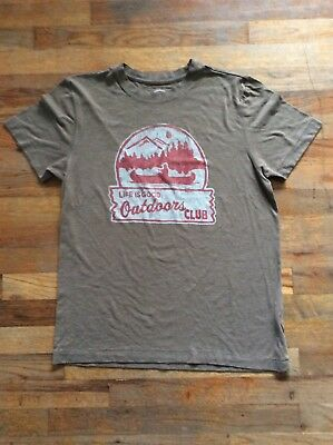 Mens Brown Life Is Good Outdoor Club T-Shirt - Size Small