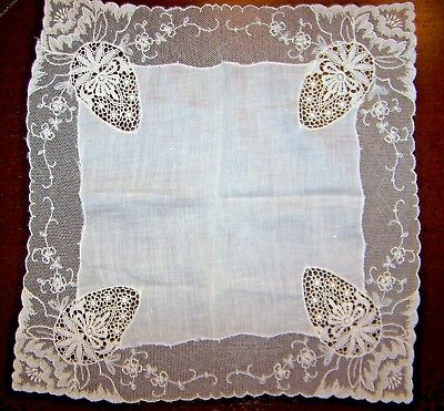 Beautiful linen Art Deco handkerchief hankie with hand drawnwork.