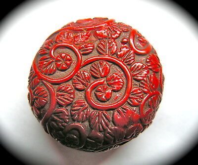 Antique Button ~ Beautiful Chunky Carved Chinese Cinnabar w Florals