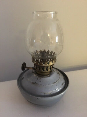 Vintage blue metal Nursery Kelly/Pixie Paraffin Oil Lamp