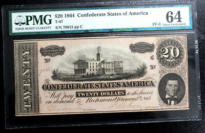 T-67 1864 $20 Confederate Notes Currency  Pmg 64 Csa Pf-3 Choice Uncirculated