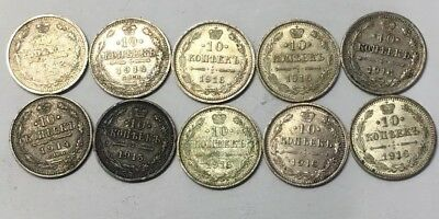 Lot of (10) - 10 KOPEKS SILVER COINS - RUSSIA- 1912-1916 -0.500 SILVER- See Pics