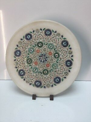 Indian Agra Marble Plaque - Semi-precious Stones, Mother of Pearl c 1950s