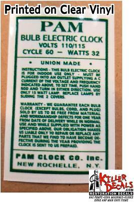 Pam Clock Parts - Back Voltage Label -Clear Sticker With Green Lettering (Pam-5)