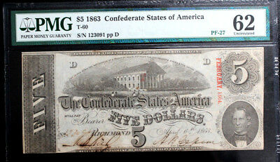 T-60 1863 $5 Csa Confederate States America Currency Pmg 62 Uncirculated Pf-27